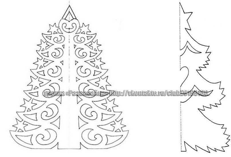 Объемная елка из бумаги шаблоны